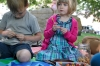 Making bubble wands at the picnic 2012